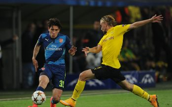DORTMUND, GERMANY - SEPTEMBER 16:Hector Bellerin of Arsenal challenged by Marcel Schmelzer of Dortmund during the UEFA Champions League match between Borussia Dortmund and Arsenal at Signal Iduna Park on September 16, 2014 in Dortmund, Germany. (Photo by Stuart MacFarlane/Arsenal FC via Getty Images)   *** Local Caption *** Hector Bellerin;Marcel Schmelzer