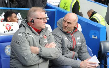 LONDON, ENGLAND - FEBRUARY 04: (R) Arsenal assistant manager Steve Bould with (L) 1st team coach Neil Banfield before the Premier League match between Chelsea and Arsenal at Stamford Bridge on February 4, 2017 in London, England. (Photo by Stuart MacFarlane/Arsenal FC via Getty Images) *** Local Caption *** Steve Bould;Neil Banfield
