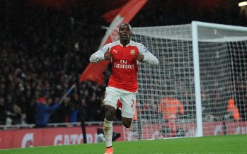 LONDON, ENGLAND - MARCH 02:  Joel Campbell celebrates scoring a goal for Arsenal the Barclays Premier League match between Arsenal and Swansea City at Emirates Stadium on March 2, 2016 in London, England.  (Photo by David Price/Arsenal FC via Getty Images) *** Local Caption *** Joel Campbell