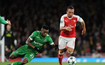 LONDON, ENGLAND - OCTOBER 19:  Santi Cazorla of Arsenal breks past Jonathan Cafu of Ludogorets during the UEFA Champions League match between Arsenal FC and PFC Ludogorets Razgrad at Emirates Stadium on October 19, 2016 in London, England.  (Photo by Stuart MacFarlane/Arsenal FC via Getty Images) *** Local Caption *** Santu Cazorla;Jonathan Cafu