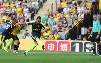 WATFORD, ENGLAND - AUGUST 27:  Santi Cazorla scores fo Arsenal from the penalty spot during the Premier League match between Watford and Arsenal at Vicarage Road on August 27, 2016 in Watford, England.  (Photo by Stuart MacFarlane/Arsenal FC via Getty Images) *** Local Caption *** Santi Cazorla
