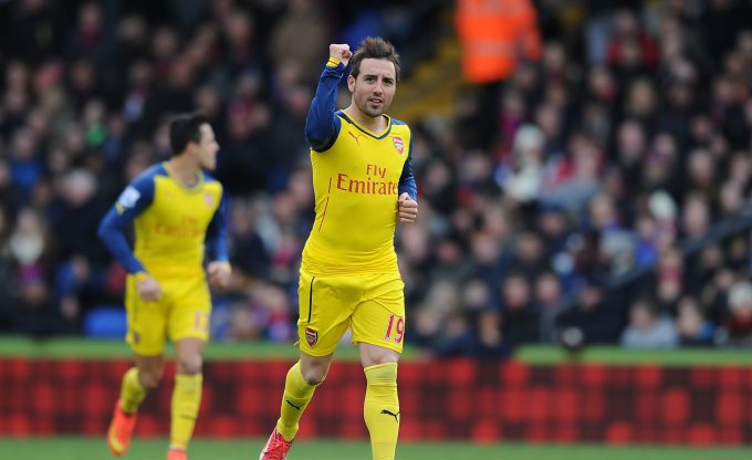 LONDON, ENGLAND - FEBRUARY 21:  Santi Cazorla celebrates scoring the 1st Arsenal goal during the Barclays Premier League match between Crystal Palace and Arsenal at Selhurst Park on February 21, 2015 in London, England. Stuart MacFarlane/Arsenal FC via Getty Images)  (Photo by Stuart MacFarlane/Arsenal FC via Getty Images) *** Local Caption *** Santi Cazorla