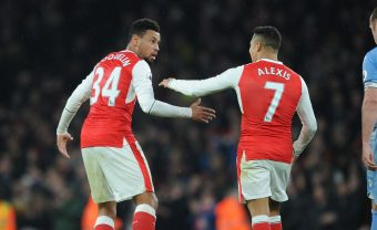 LONDON, ENGLAND - DECEMBER 10:  (L-R) Francis Coquelin and Alexis Sanchez of Arsenal during the Premier League match between Arsenal and Stoke City at Emirates Stadium on December 10, 2016 in London, England.  (Photo by Stuart MacFarlane/Arsenal FC via Getty Images) *** Local Caption *** Francis Coquelin;Alexis Sanchez