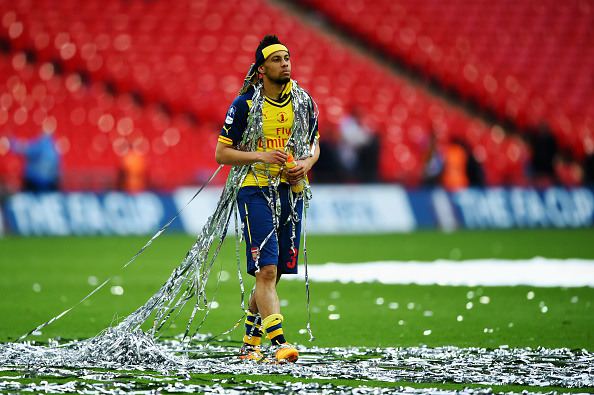 during the FA Cup Final between Aston Villa and Arsenal at Wembley Stadium on May 30, 2015 in London, England.