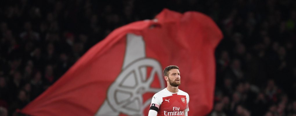 LONDON, ENGLAND - JANUARY 25: Shkodran Mustafi of Arsenal during the FA Cup Fourth Round match between Arsenal and Manchester United at Emirates Stadium on January 25, 2019 in London, United Kingdom. (Photo by Stuart MacFarlane/Arsenal FC via Getty Images)