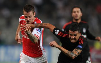 ISTANBUL, TURKEY - AUGUST 19: Mathieu Debuchy of Arsenal challenged by Ramon Motta of Besiktas during the UEFA Champions League play off match between Besiktas and Arsenal on August 19, 2014 in Istanbul, Turkey. (Photo by Stuart MacFarlane/Arsenal FC via Getty Images) *** Local Caption *** Mathieu Debuchy;Ramon Motta