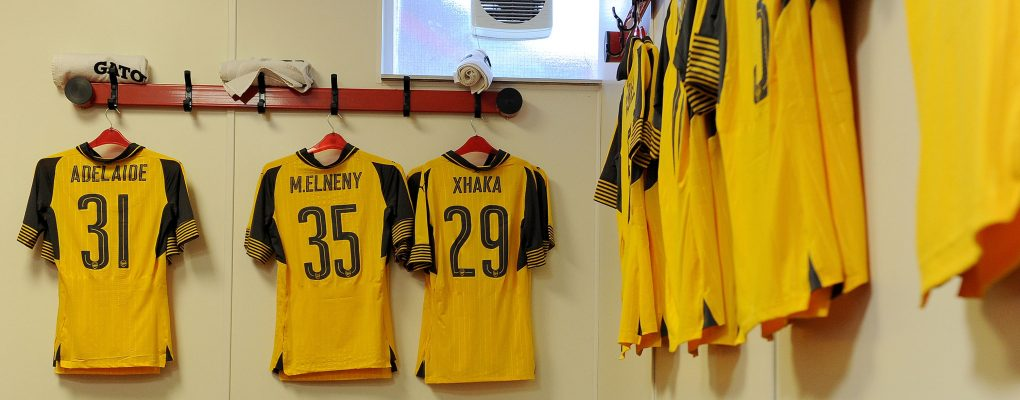 NOTTINGHAM, ENGLAND - SEPTEMBER 20:  Arsenal kit laid out before the match between Nottingham Forest and Arsenal at City Ground on September 20, 2016 in Nottingham, England.  (Photo by David Price/Arsenal FC via Getty Images) *** Local Caption *** Arsenal kit