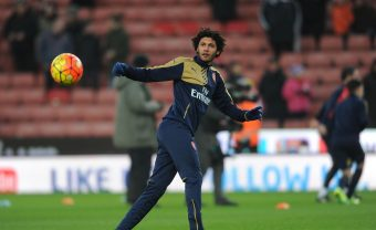 STOKE ON TRENT, ENGLAND - JANUARY 17:  Mohamed Elneny of Arsenal warms up before the Barclays Premier League match between Stoke City and Arsenal at The Britainnia Stadium in Stoke on 17th January 2016  (Photo by David Price/Arsenal FC via Getty Images) *** Local Caption *** Mohamed Elneny