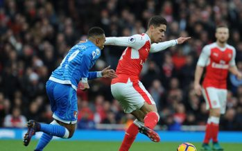 LONDON, ENGLAND - NOVEMBER 27: Gabriel of Arsenal takes on Junior Stanislas of Bournemouth during the Premier League match between Arsenal and AFC Bournemouth at Emirates Stadium on November 27, 2016 in London, England. (Photo by Stuart MacFarlane/Arsenal FC via Getty Images) *** Local Caption *** Premier League;Gabriel;Junior Stanislas