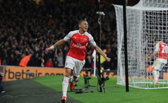 LONDON, ENGLAND - NOVEMBER 08:  Kieran Gibbs celebrates scoring the Arsenal goal during the Barclays Premier League match between Arsenal and Tottenham Hotspur at Emirates Stadium on November 8, 2015 in London, England.  (Photo by Stuart MacFarlane/Arsenal FC via Getty Images) *** Local Caption *** Kieran Gibbs