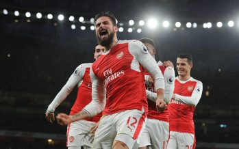 LONDON, ENGLAND - JANUARY 01:  Olivier Giroud celebrates scoring the1st Arsenal goal during the Premier League match between Arsenal and Crystal Palace at Emirates Stadium on January 1, 2017 in London, England.  (Photo by Stuart MacFarlane/Arsenal FC via Getty Images) *** Local Caption *** Olivier Giroud