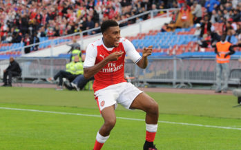 GOTHENBURG, SWEDEN - AUGUST 07:  Alex Iwobi celebrates scoring Arsenal's 1st goal during the match between Arsenal and Manchester City at Ullevi on August 7, 2016 in Gothenburg, Sweden.  (Photo by David Price/Arsenal FC via Getty Images) *** Local Caption *** Alex Iwobi