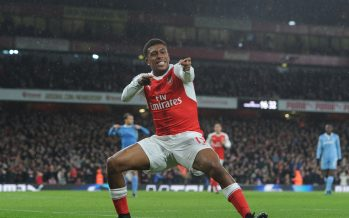 LONDON, ENGLAND - DECEMBER 10:  Alex Iwobi celebrates scoring the 3rd Arsenal goal during the Premier League match between Arsenal and Stoke City at Emirates Stadium on December 10, 2016 in London, England.  (Photo by Stuart MacFarlane/Arsenal FC via Getty Images) *** Local Caption *** Alex Iwobi