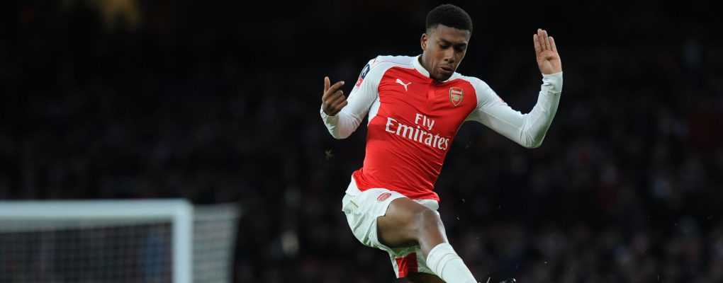 LONDON, ENGLAND - JANUARY 09:  Alex Iwobi of Arsenal tackled by DeAndre Yedlin of Sunderland during the Emirates FA Cup Third Round match between Arsenal and Sunderland at Emirates Stadium on January 9, 2016 in London, England.  (Photo by Stuart MacFarlane/Arsenal FC via Getty Images) *** Local Caption *** Alex Iwobi;DeAndre Yedlin