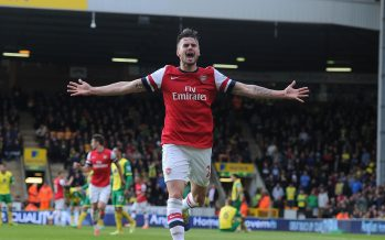 NORWICH, ENGLAND - MAY 11:  Carl Jenkinson celebrates scoring the 2nd Arsenal goal during the Barclays Premier League match between Norwich City and Arsenal at Carrow Road on May 11, 2014 in Norwich, England.  (Photo by Stuart MacFarlane/Arsenal FC via Getty Images) *** Local Caption *** Carl Jenkinson