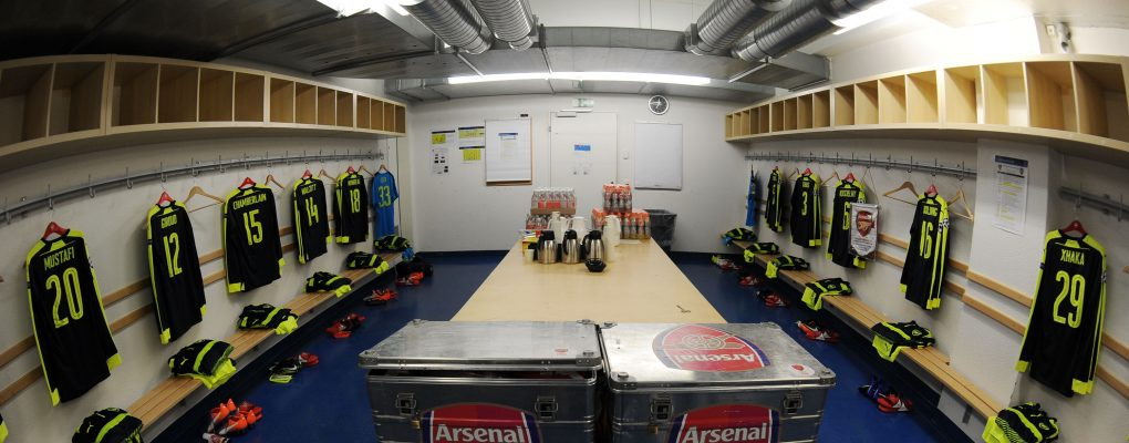 BASEL, BASEL-STADT - DECEMBER 06:  The Arsenal changing room before the UEFA Champions League match between FC Basel and Arsenal at St. Jakob-Park on December 6, 2016 in Basel, Basel-Stadt.  (Photo by Stuart MacFarlane/Arsenal FC via Getty Images) *** Local Caption *** UEFA Champions League