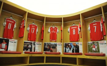 LONDON, ENGLAND - SEPTEMBER 03:  Arsenal shirts hang in the home changing room before the friendly match between the Arsenal Legends and Milan Glorie at Emirates Stadium on September 3, 2016 in London, England.  (Photo by Stuart MacFarlane/Arsenal FC via Getty Images) *** Local Caption *** Arsenal shirts