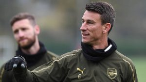 ST ALBANS, ENGLAND - OCTOBER 30: Laurent Koscielny of Arsenal during the Arsenal Training Session at London Colney on October 30, 2018 in St Albans, England. (Photo by David Price/Arsenal FC via Getty Images)