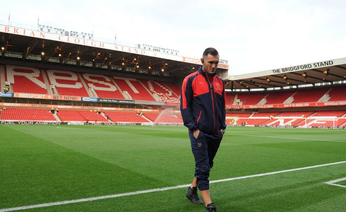 NOTTINGHAM, ENGLAND - SEPTEMBER 20:  Lucas Perez of Arsenal checks the pitch before the match between Nottingham Forest and Arsenal at City Ground on September 20, 2016 in Nottingham, England.  (Photo by David Price/Arsenal FC via Getty Images) *** Local Caption *** Lucas Perez