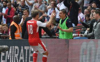 LONDON, ENGLAND - APRIL 23:  (L) Nacho Monreal celebrates scoring the 1st Arsenal goal with substitute (R) Hector Bellerin during the Emirates FA Cup Semi-Final match between Arsenal and Manchester City at Wembley Stadium on April 23, 2017 in London, England.  (Photo by Stuart MacFarlane/Arsenal FC via Getty Images) *** Local Caption *** Nacho Monreal;Hector Bellerin