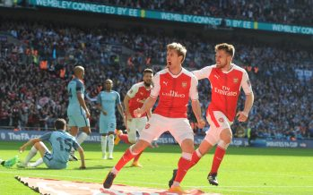 LONDON, ENGLAND - APRIL 23:  (L) Nacho Monreal celebrates scoring the 1st Arsenal goal with (R) Aaron Ramsey during the Emirates FA Cup Semi-Final match between Arsenal and Manchester City at Wembley Stadium on April 23, 2017 in London, England.  (Photo by Stuart MacFarlane/Arsenal FC via Getty Images) *** Local Caption *** Nacho Monreal;Aaron Ramsey