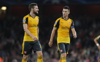 LONDON, ENGLAND - SEPTEMBER 28:  Shkodran Mustafi and Laurent Koscielny of Arsenal during the UEFA Champions League match between Arsenal FC and FC Basel 1893 at Emirates Stadium on September 28, 2016 in London, England.  (Photo by David Price/Arsenal FC via Getty Images) *** Local Caption *** Shkodran Mustafi; Laurent Koscielny