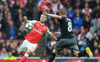 LONDON, ENGLAND - SEPTEMBER 10: Shkodran Mustafi of Arsenal challenges Steven Davis of Southampton during the Premier League match between Arsenal and Southampton at Emirates Stadium on September 10, 2016 in London, England. (Photo by Stuart MacFarlane/Arsenal FC via Getty Images) *** Local Caption *** Shkodran Mustafi;Steve Davis