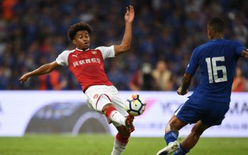 BEIJING, CHINA - JULY 22: Reiss Nelson of Arsenal takes on Kenedy of Chelsea during the pre season friendly between Arsenal and Chelsea at the Birds Nest on July 22, 2017 in Beijing, . (Photo by Stuart MacFarlane/Arsenal FC via Getty Images) *** Local Caption *** Reiss Nelson;Kenedy