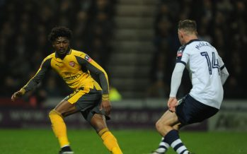 PRESTON, ENGLAND - JANUARY 07: Ainsley Maitland-Niles of Arsenal challenges Aiden McGeady of Preston during the Emirates FA Cup Third Round match between Preston North End and Arsenal at Deepdale on January 7, 2017 in Preston, England. (Photo by Stuart MacFarlane/Arsenal FC via Getty Images) *** Local Caption *** Ainsley Maitland-Niles;Aiden McGeady