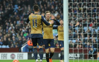 BIRMINGHAM, ENGLAND - DECEMBER 13:  Aaron Ramsey celebrates scoring Arsenal's 2nd goal with Mesut Ozil during the Barclays Premier League match between Aston Villa and Arsenal on 13th December, 2015 in Birmingham, England.Ê  (Photo by David Price/Arsenal FC via Getty Images) *** Local Caption *** Aaron Ramsey; Mesut Ozil; Oezil