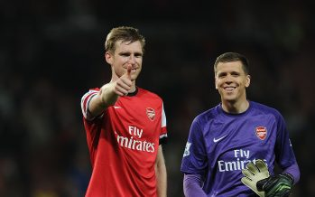 LONDON, ENGLAND - APRIL 28: (L-R) Per Mertesacker and Wojciech Szczesny celebrate the Arsenal victory after the Barclays Premier League match between Arsenal and Newcastle United at Emirates Stadium on April 28, 2014 in London, England. (Photo by Stuart MacFarlane/Arsenal FC via Getty Images)  *** Local Caption *** Per Mertesacker;Wojciech Szczesny