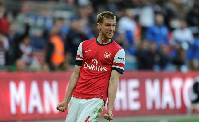 LONDON, ENGLAND - APRIL 12:  Per Mertesacker celebrates scoring the Arsenal goal during the FA Cup Semi Final between Wigan Athletic and Arsenal at Wembley Stadium on April 12, 2014 in London, England.  (Photo by Stuart MacFarlane/Arsenal FC via Getty Images) *** Local Caption *** Per Mertesacker