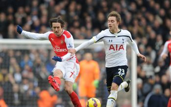 LONDON, ENGLAND - FEBRUARY 07:  Tomas Rosicky of Arsenal breaks past Christian Eriksen of Topttenham during the Barclays Premier League match between Tottenham Hotspur and Arsenal at White Hart Lane on February 7, 2015 in London, England.  (Photo by Stuart MacFarlane/Arsenal FC via Getty Images) *** Local Caption *** Tomas Rosicky;Christian Eriksen