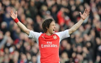 LONDON, ENGLAND - MARCH 1: Tomas Rosicky celebrates scoring the 2nd Arsenal goal during the Barclays Premier League match between Arsenal and Everton at Emirates Stadium on March 1, 2015 in London, England. (Photo by Stuart MacFarlane/Arsenal FC via Getty Images) *** Local Caption *** Tomas Rosicky
