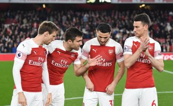 LONDON, ENGLAND - FEBRUARY 27: (L-R) Nacho Monreal, Sokratis, Sead Kolasinac and Laurent Koscielny of Arsenal before the Premier League match between Arsenal FC and AFC Bournemouth at Emirates Stadium on February 27, 2019 in London, United Kingdom. (Photo by Stuart MacFarlane/Arsenal FC via Getty Images)