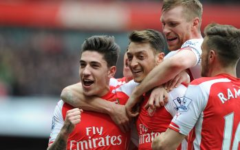 LONDON, ENGLAND - APRIL 04:  (2ndL) Mesut Ozil celebrates scoring the 2nd Arsenal goal with (L) Hector Bellerin during the Barclays Premier League match between Arsenal and Liverpool at Emirates Stadium on April 4, 2015 in London, England. Photo by Stuart MacFarlane/Arsenal FC via Getty Images)  (Photo by Stuart MacFarlane/Arsenal FC via Getty Images) *** Local Caption *** Mesut Ozil;Oezil;Hector Bellerin