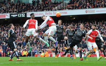 LONDON, ENGLAND - FEBRUARY 14:  Danny Welbeck (far left) scores Arsenal's 2nd goal during the Barclays Premier League match between Arsenal and Leicester City at Emirates Stadium on February 14th, 2016 in London, England  (Photo by David Price/Arsenal FC via Getty Images) *** Local Caption *** Danny Welbeck