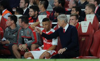 LONDON, ENGLAND - SEPTEMBER 24:  Arsene Wenger the Manager of Arsenal gives Kieran Gibbs some instructions before he goes on during the Premier League match between Arsenal and Chelsea at Emirates Stadium on September 24, 2016 in London, England.  (Photo by David Price/Arsenal FC via Getty Images) *** Local Caption *** Arsene Wenger; Kieran Gibbs