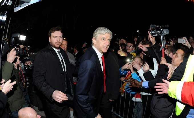 SUTTON, GREATER LONDON - FEBRUARY 20:  Arsene Wenger the Arsenal Manager arrives at the stadium before the match between Sutton United and Arsenal on February 20, 2017 in Sutton, Greater London.  (Photo by David Price/Arsenal FC via Getty Images) *** Local Caption *** Arsene Wenger