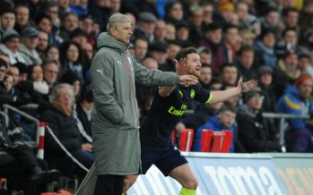 SWANSEA, WALES - JANUARY 14: Arsenal manager Arsene Wenger with defender Shkodran Mustafi during the Premier League match between Swansea City and Arsenal at Liberty Stadium on January 14, 2017 in Swansea, Wales. (Photo by Stuart MacFarlane/Arsenal FC via Getty Images) *** Local Caption *** Arsene Wenger;Shkodran Mustafi