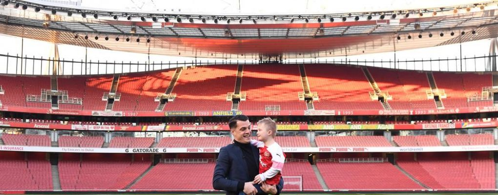 LONDON, ENGLAND - FEBRUARY 24: Granit Xhaka with friend Julian after the Premier League match between Arsenal FC and Southampton FC at Emirates Stadium on February 24, 2019 in London, United Kingdom. (Photo by Stuart MacFarlane/Arsenal FC via Getty Images)
