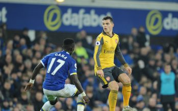 LIVERPOOL, ENGLAND - DECEMBER 13:  Granit Xhaka of Arsenal takes on Idrissa Gana Gueye of Everton during the Premier League match between Everton and Arsenal at Goodison Park on December 13, 2016 in Liverpool, England.  (Photo by Stuart MacFarlane/Arsenal FC via Getty Images) *** Local Caption *** Granit Xhaka;Idrissa Gana Gueye