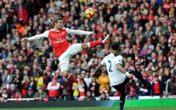 LONDON, ENGLAND - NOVEMBER 06:  Nacho Monreal of Arsenal clears the ball away from Kyle Walker of Tottenham during the Premier League match between Arsenal and Tottenham Hotspur at Emirates Stadium on November 6, 2016 in London, England.  (Photo by David Price/Arsenal FC via Getty Images) *** Local Caption *** Nacho Monreal; Kyle Walker