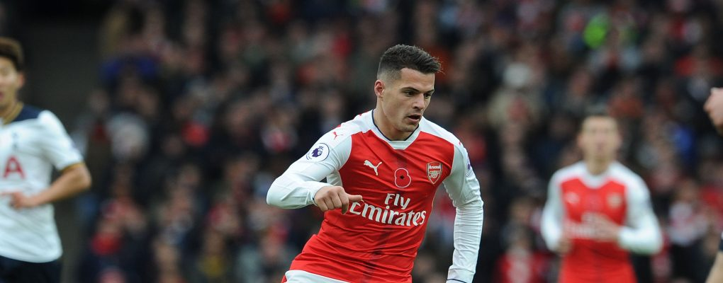 LONDON, ENGLAND - NOVEMBER 06:  Granit Xhaka of Arsenal during the Premier League match between Arsenal and Tottenham Hotspur at Emirates Stadium on November 6, 2016 in London, England.  (Photo by David Price/Arsenal FC via Getty Images) *** Local Caption *** Granit Xhaka